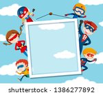 superhero on on sky frame... | Shutterstock .eps vector #1386277892
