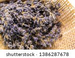 lavender bouquet wrapped in... | Shutterstock . vector #1386287678
