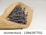 lavender bouquet wrapped in... | Shutterstock . vector #1386287702
