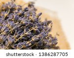 lavender bouquet wrapped in... | Shutterstock . vector #1386287705