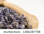 lavender bouquet wrapped in... | Shutterstock . vector #1386287708