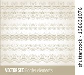 vector set of border elements... | Shutterstock .eps vector #138631076