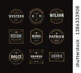 vector retro vintage emblem or... | Shutterstock .eps vector #1386333908