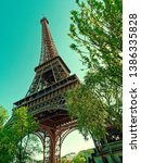 eiffel tower in paris view from ... | Shutterstock . vector #1386335828