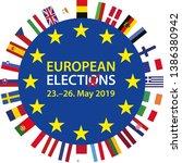 european elections 2019  23 26... | Shutterstock .eps vector #1386380942