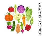cute eat veggies background... | Shutterstock .eps vector #1386394412