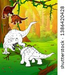 coloring dinosaurs.... | Shutterstock .eps vector #1386420428
