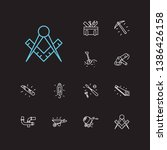 instrument icons set. hand saw...