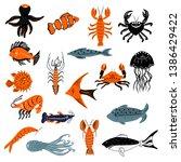 vector sea animals...   Shutterstock .eps vector #1386429422