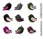 vector birds set and big...   Shutterstock .eps vector #1386432245