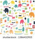 pary elefants birthday vector...   Shutterstock .eps vector #1386432905
