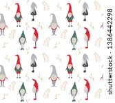 vector christmas gnomes in red...   Shutterstock .eps vector #1386442298