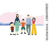 happy family day cartoon 2 d...   Shutterstock .eps vector #1386445835
