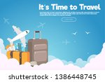 it s time to travel.travel... | Shutterstock .eps vector #1386448745