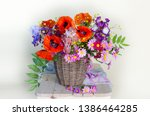 Bouquet Of Red Poppies And...