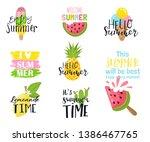 summer hand drawn lettering... | Shutterstock .eps vector #1386467765