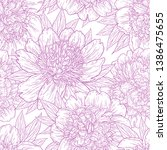 seamless pattern with peony... | Shutterstock .eps vector #1386475655