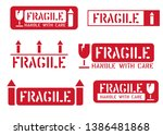 fragile  this way up  handle... | Shutterstock .eps vector #1386481868