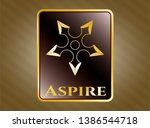 gold shiny badge with ninja... | Shutterstock .eps vector #1386544718