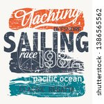 Pacific ocean offshore Yacht racing regatta vector print for boy t shirt grunge effect in separate layer