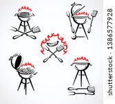 grill labels and elements set.... | Shutterstock .eps vector #1386577928