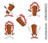 kebab labels and elements set.... | Shutterstock .eps vector #1386580022