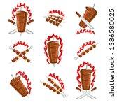 kebab labels and elements set.... | Shutterstock .eps vector #1386580025
