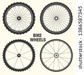 bicycle wheel symbol vector... | Shutterstock .eps vector #1386587345