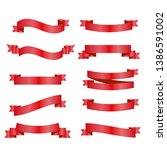 red ribbons set. vector design...   Shutterstock .eps vector #1386591002