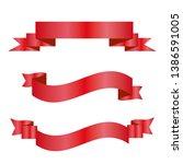 red ribbons set. vector design... | Shutterstock .eps vector #1386591005