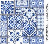 majolica pottery tile  blue and ...   Shutterstock .eps vector #1386640982