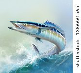 Stock photo spanish mackerel wahoo fish big fish on the background of the waves realistic illustration a 1386661565