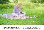 business lady freelance work... | Shutterstock . vector #1386690578