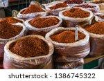 sacks of dried chili in china   Shutterstock . vector #1386745322