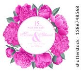 round frame with pink peonies... | Shutterstock .eps vector #1386748568