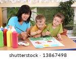 teacher two preschoolers and...   Shutterstock . vector #13867498