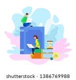 e library archive  e learning... | Shutterstock .eps vector #1386769988