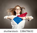 woman opening her shirt like a... | Shutterstock . vector #138678632
