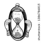 decorative antique hourglass... | Shutterstock .eps vector #1386786815
