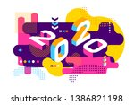 2020 colored memphis style.... | Shutterstock .eps vector #1386821198