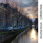 Stock photo evening in amsterdam 138682466