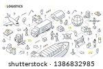 logistics concept.... | Shutterstock .eps vector #1386832985