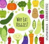 cute eat veggies background... | Shutterstock .eps vector #1386853502
