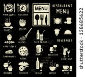 scratched restaurant menu... | Shutterstock .eps vector #138685622