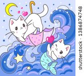 Stock vector cute white kitten and mermaid kitten in the sea for kids for the design of posters prints etc 1386874748