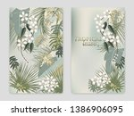 vector tropical jungle cover... | Shutterstock .eps vector #1386906095