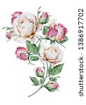 Watercolor Bouquet With Flower...