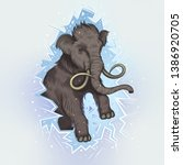 vector color vintage mammoth... | Shutterstock .eps vector #1386920705