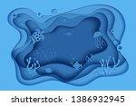 paper cut butterflyfish ... | Shutterstock .eps vector #1386932945