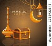 ramadan kareem with waning moon ... | Shutterstock .eps vector #1386933845